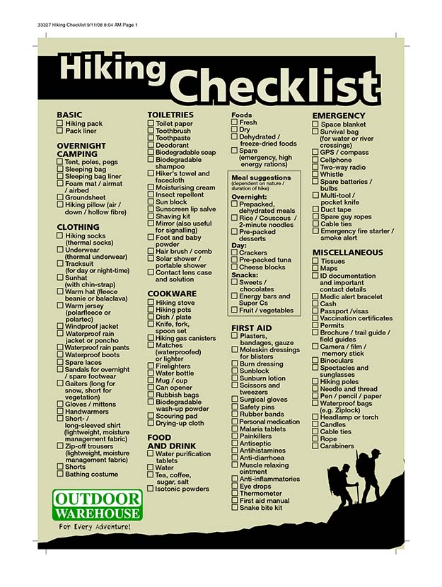 backpacking checklist Make sure you're prepared for any trip with backpacker's comprehensive backpacking gear checklists pick the perfect piece of gear.